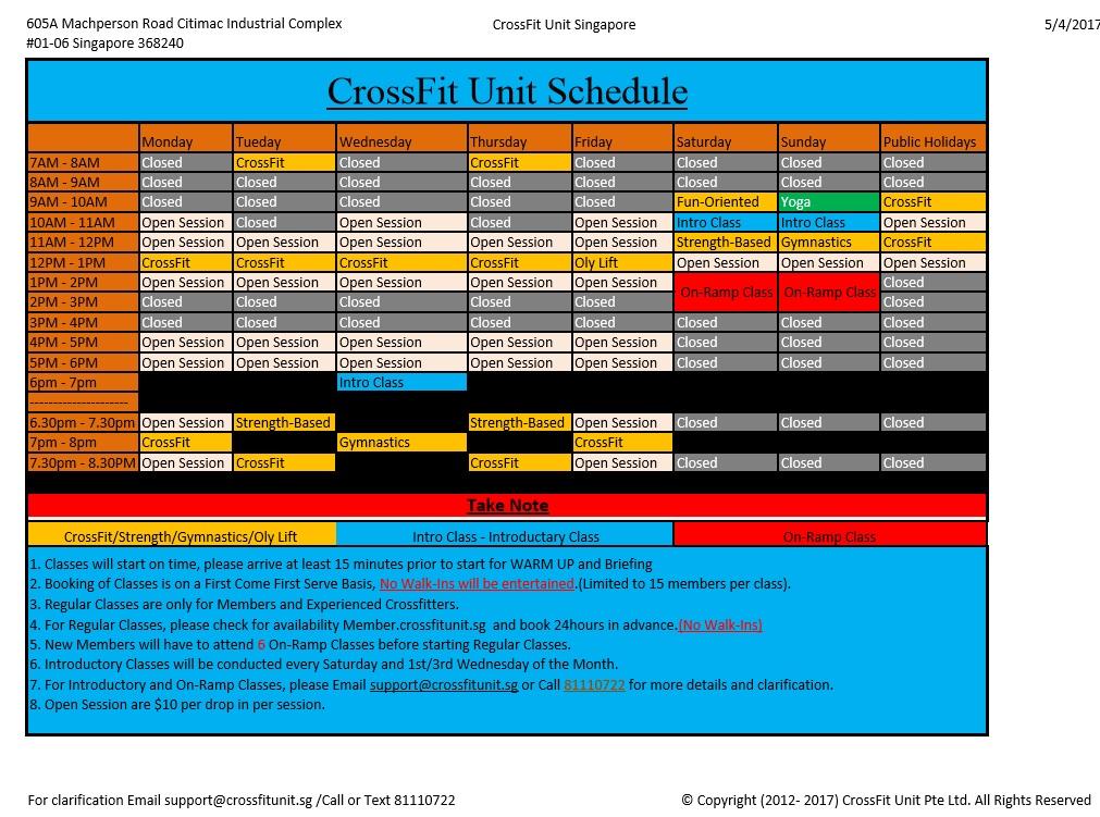 CrossFit Unit Schedule(20170405)